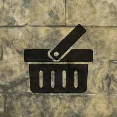 Shopping basket icon Flat with abstract background