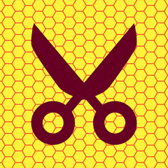 Scissors icon Flat with abstract background