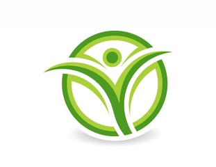 eco green logo, people health nature,plant symbol,grass