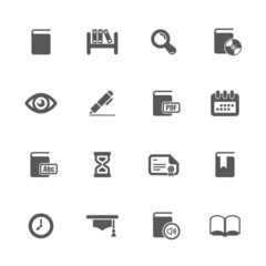 Books and library icons set.