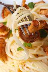 spaghetti with chanterelles and fork macro vertical