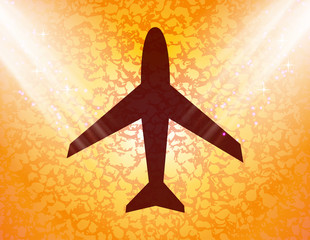 Plane icon flat design with abstract background