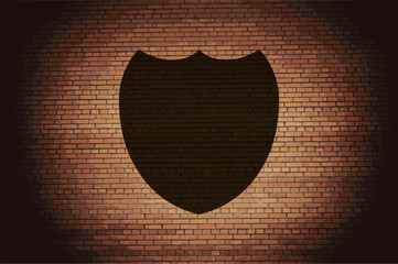Shield protection icon flat design with abstract background