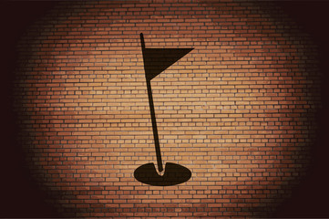 golf flag icon flat design with abstract background
