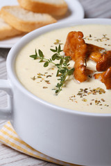 cream soup with chanterelles close up vertical