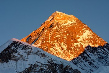 Summit of Mt. Everest at Sunset