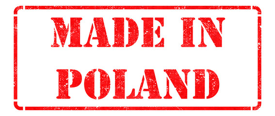 Made in Poland on Red Rubber Stamp.