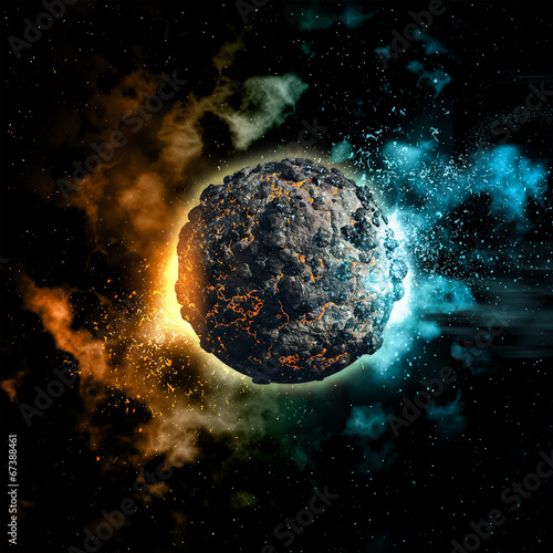 canvas print picture Space background with volcanic planet