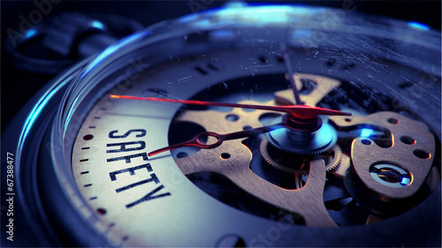 Leinwandbild Motiv Safety on Pocket Watch Face.
