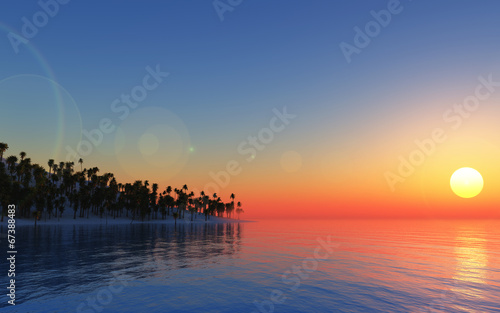 canvas print picture 3D tropical background