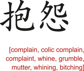 Chinese Sign for complain, complaint, whine, grumble, mutter