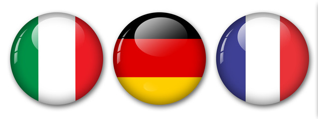 italy, germany and france flags