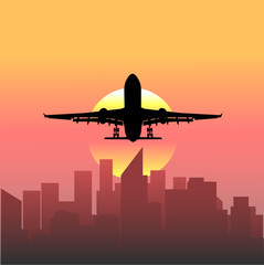 plane taking off at sunset background