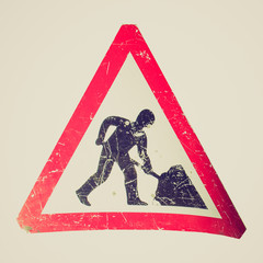 Retro look Road work sign