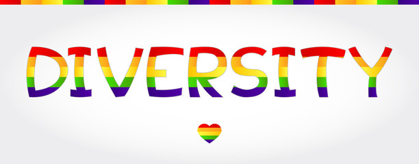 Diversity stylized word with rainbow and one heart