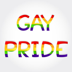 """Gay pride"" phrase stylized with rainbow"