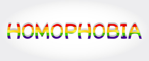 Homophobia stylized word with rainbow