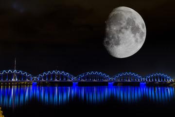 Bridges of Riga in the moonlight