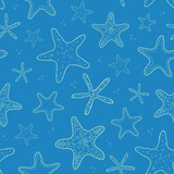 Starfish blue texture seamless pattern background