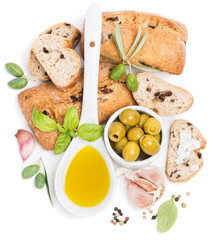 Olive  bread, olive fruits and oil from top view