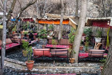 Tea house in Darband quarter in Tehran