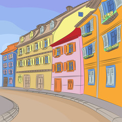 Vector cityscape of old European city