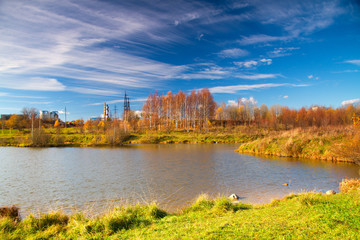 pipe on the background of the landscape and the lake