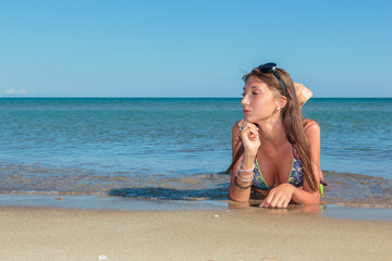 Picture of perfect female on sea coast