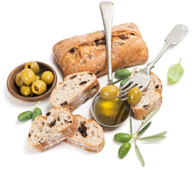 Olive bread fruits and oil