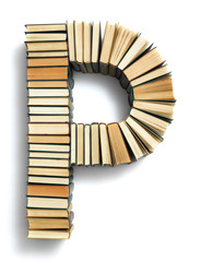 Letter P formed from the page ends of books