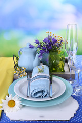 Blue table setting close-up