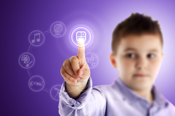 Mathematics. Boy pressing a virtual touch screen. Purple backgro