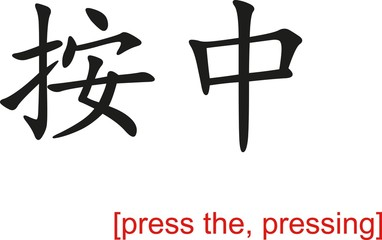 Chinese Sign for press the, pressing
