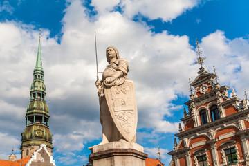 A statue of Riga's patron saint, St Roland.