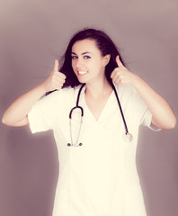 Portrait of a friendly female doctor.  happy young smiling femal