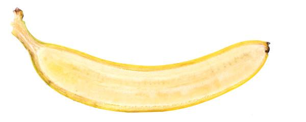 Halved ripe banana isolated on white