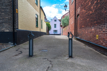 Bollards in a street in Cambridge, UK