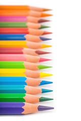 Colorful pencils closeup macro shot