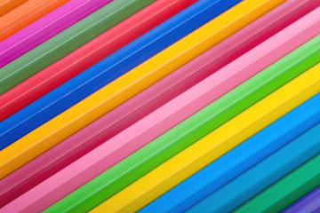 Diagonal row of colorful pencils