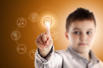 Mathematics. Boy pressing a virtual touch screen. Orange backgro