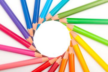 set of color pencils in shape of sun