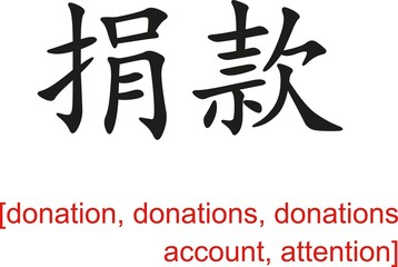 Chinese Sign for donation,donations,donations account,attention