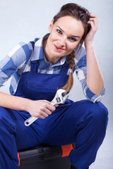 A perfect housewife repairing