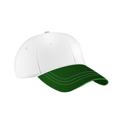 White and green baseball cap template