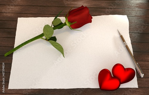 canvas print picture romantic letter with rose, red hearts on wooden table