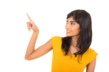 indian woman pointing with her finger