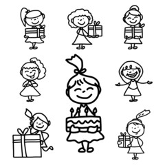 hand drawing cartoon birthday