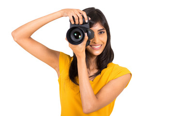 young indian woman taking pictures