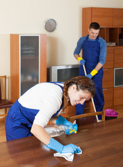 Professional cleaners in uniform