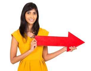 indian woman holding red direction arrow